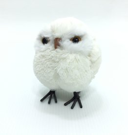 LARGE WHITE PUFF OWL ORNAMENT