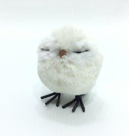 SMALL WHITE PUFF OWL ORNAMENT