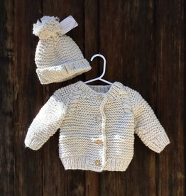 HUGGALUGS NATURAL GARTER STITCH CARDIGAN SWEATER 6-12 MONTHS