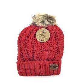 CHILD RED POMPOM HAT