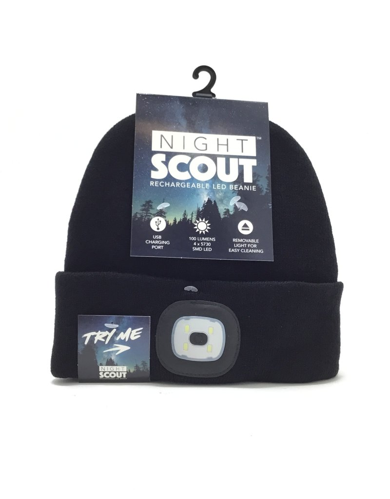 BLACK RECHARGEABLE LED BEANIE