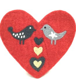 LOVE BIRDS WOOL TRIVET