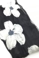 NURBU INC WHITE FLOWER CHIFFON SCARF