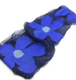 NURBU INC BLUE FLOWER CHIFFON SCARF