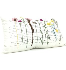 EMBROIDERED FLOWER PILLOW
