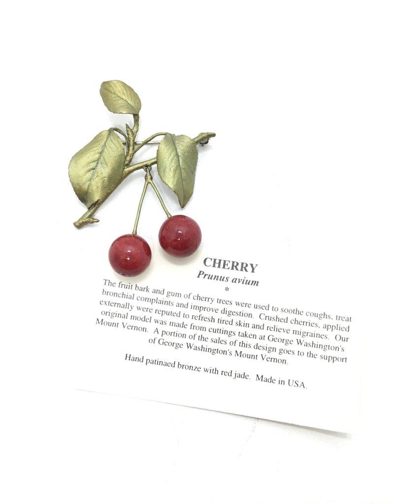 RED JASPER CHERRY BROOCH