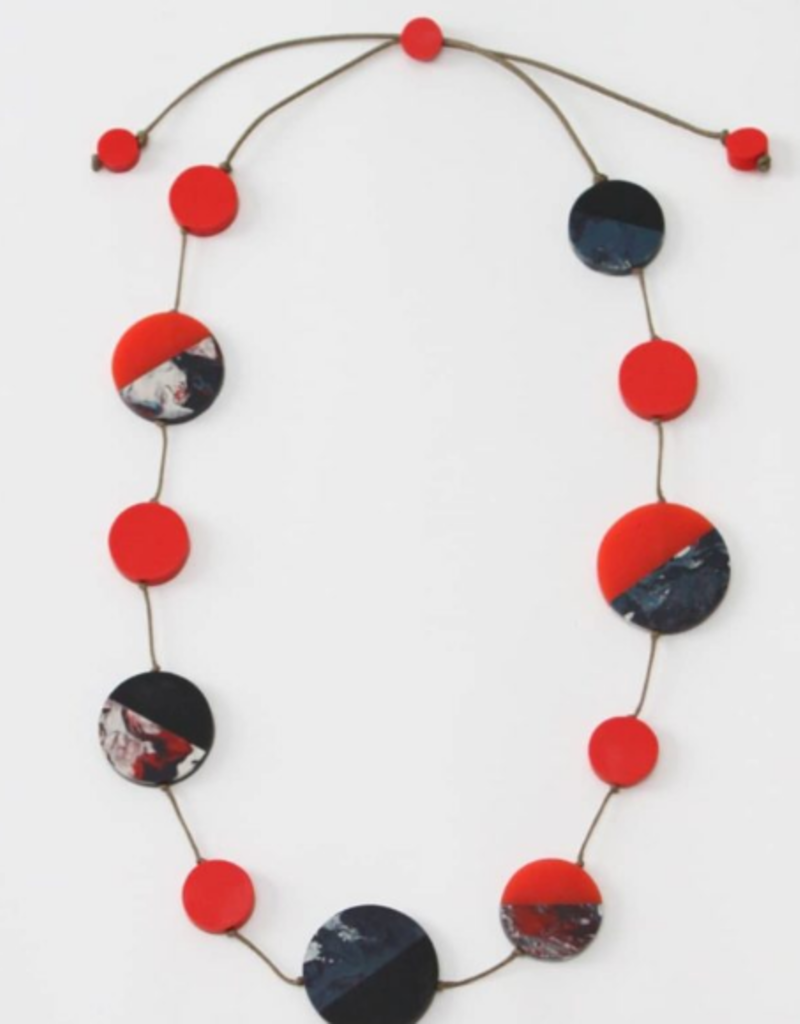 NAVY AND RED ISABELLA NECKLACE