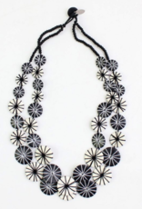 BLACK AND WHITE DOUBLE STRAND KALEI NECKLACE