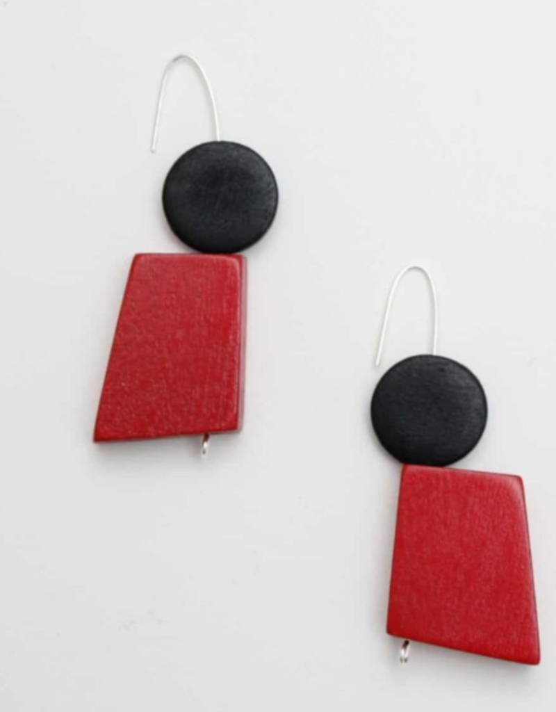 BLACK AND RED INGRID EARRINGS