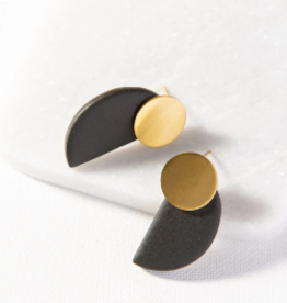 INK + ALLOY BRASS AND BLACK POST EARRING
