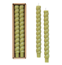 TWISTED UNSCENTED TAPER CANDLES BOXED
