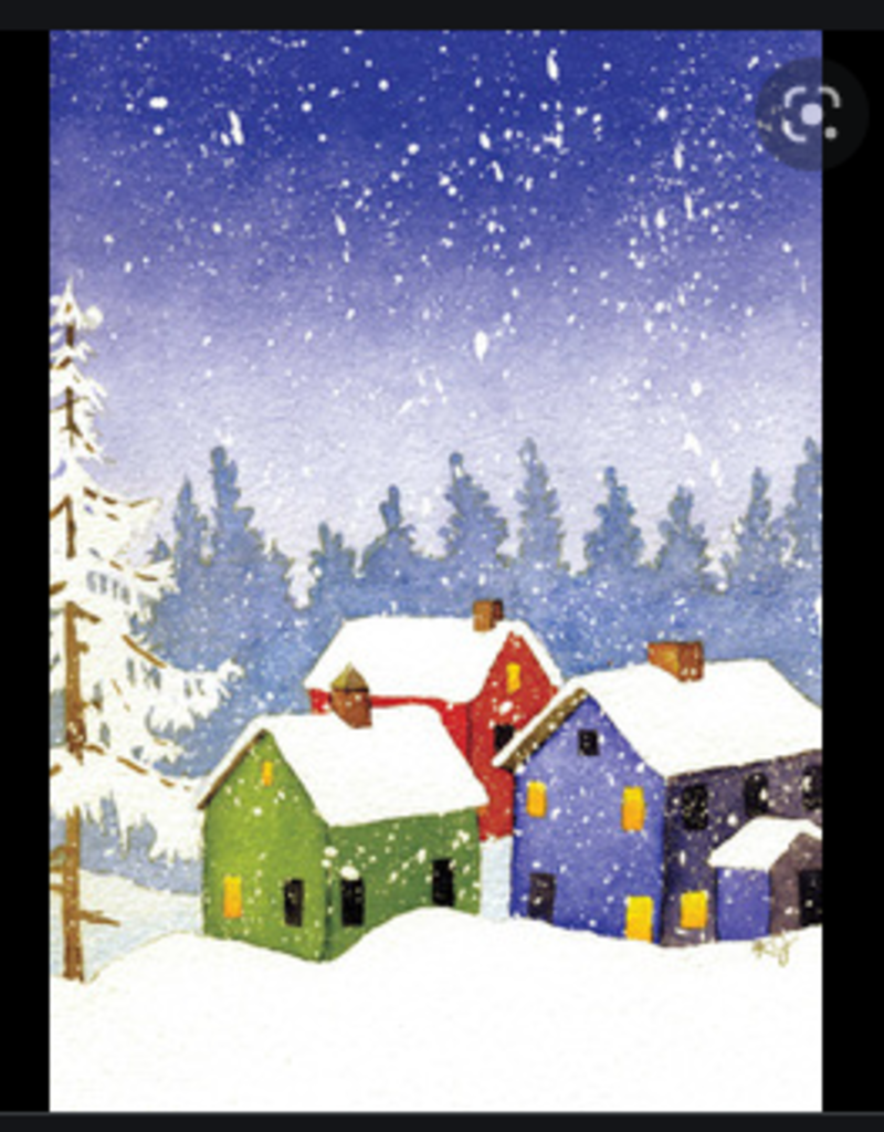 HOUSES IN SNOW PEACE HOLIDAY CARDS