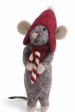 GREY FELT MOUSE WITH CANDY CANE