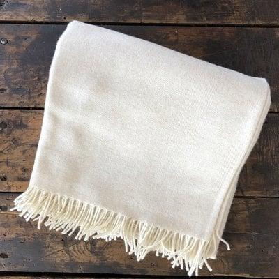 Merino Wool Throw Linen Herringbone