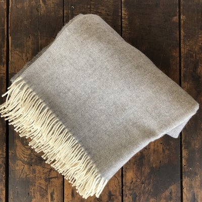 Merino Wool Throw Grey Herringbone