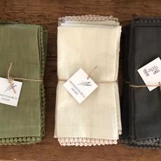 Cotton Lace Trimmed Napkins - set of 4