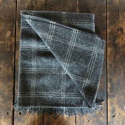 100% Wool Charcoal Windowpane Throw