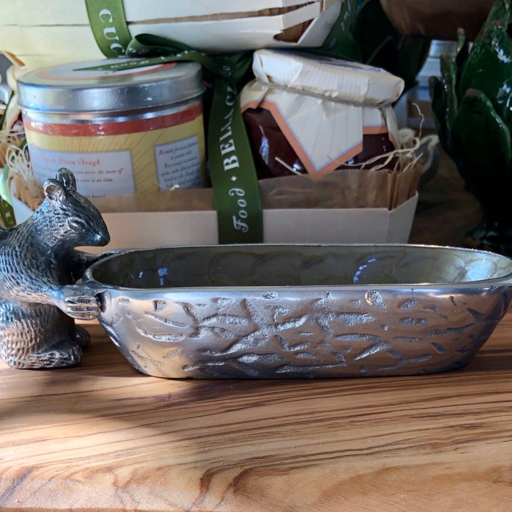 Squirrel Mother of Pearl Cracker Dish