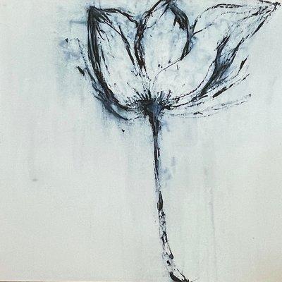 Janet Andre Block - White Print Blue Flower