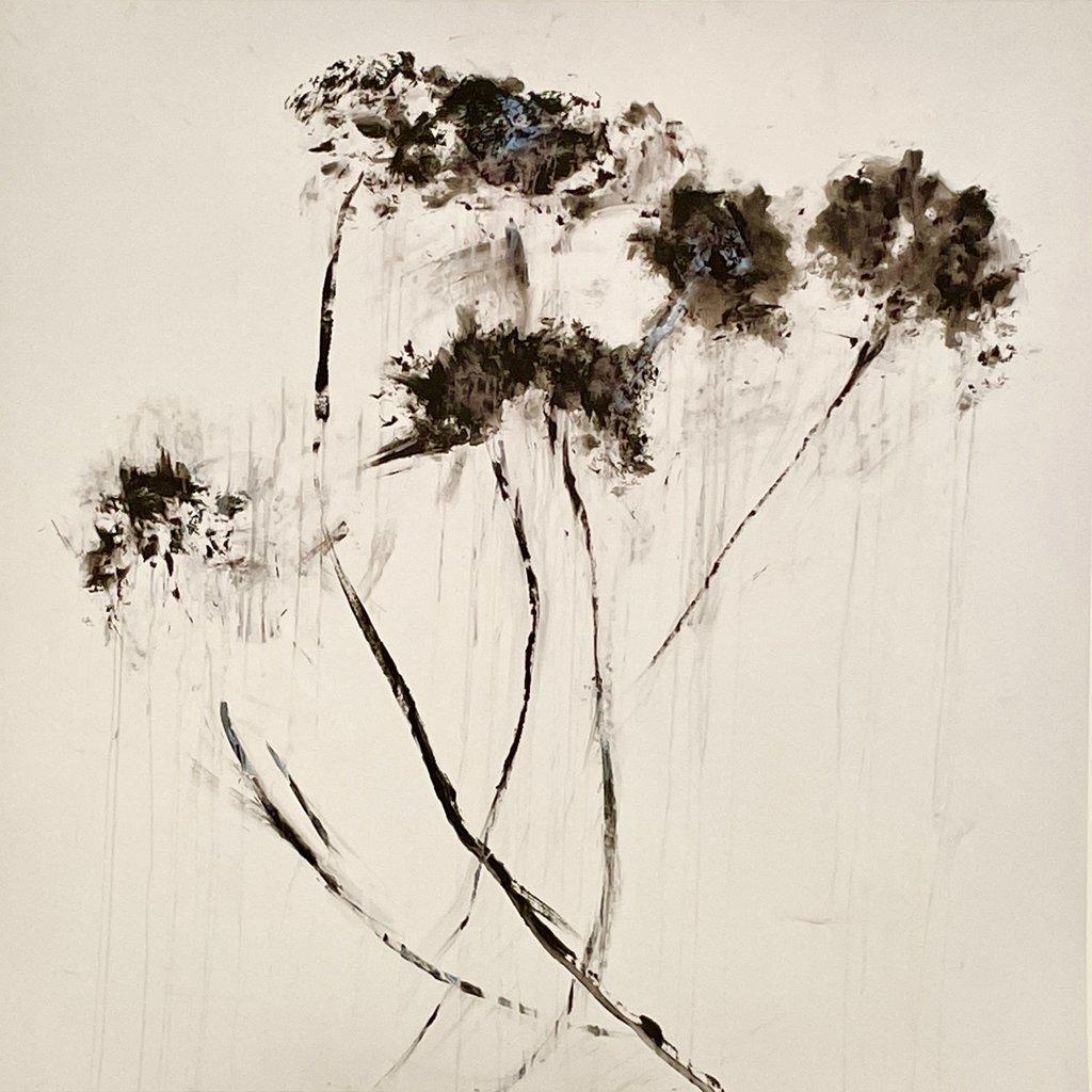 Janet Andre Block - Black Flowers on White