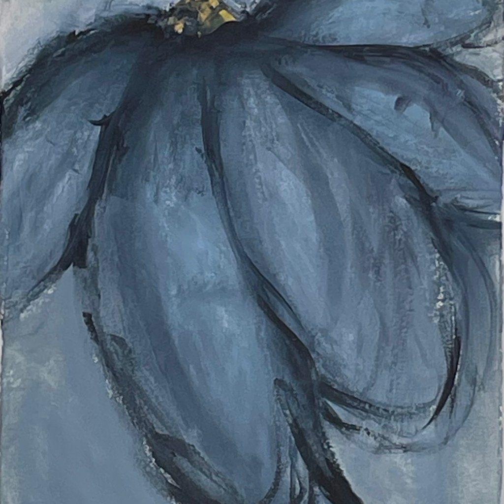 Janet Andre Block - Blue Flower 22.5 x 25