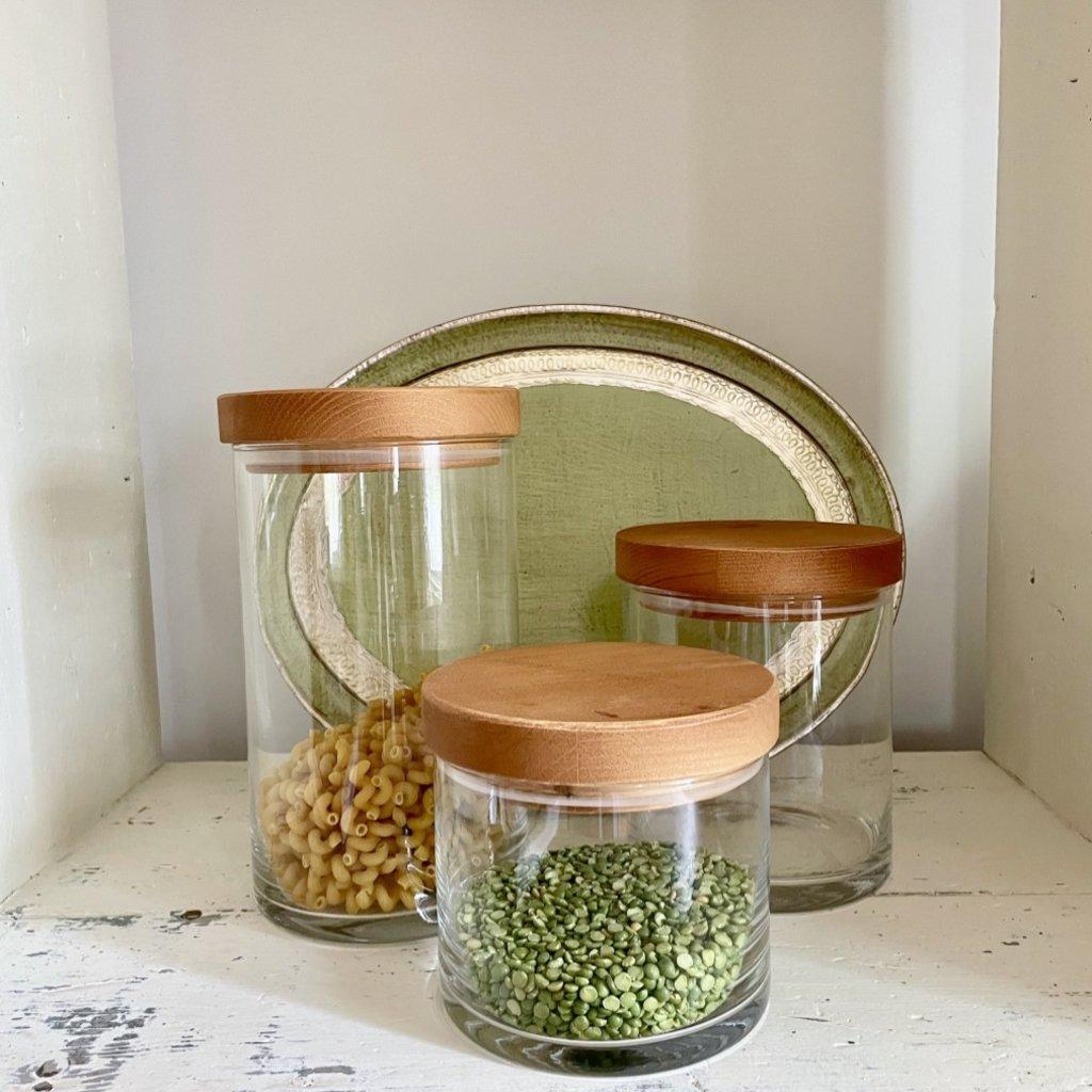 Glass Canister Wood Lid - Medium