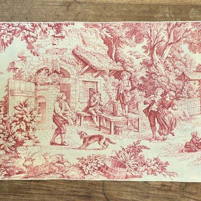 Toile de Joy Placemat- Red/Ivory