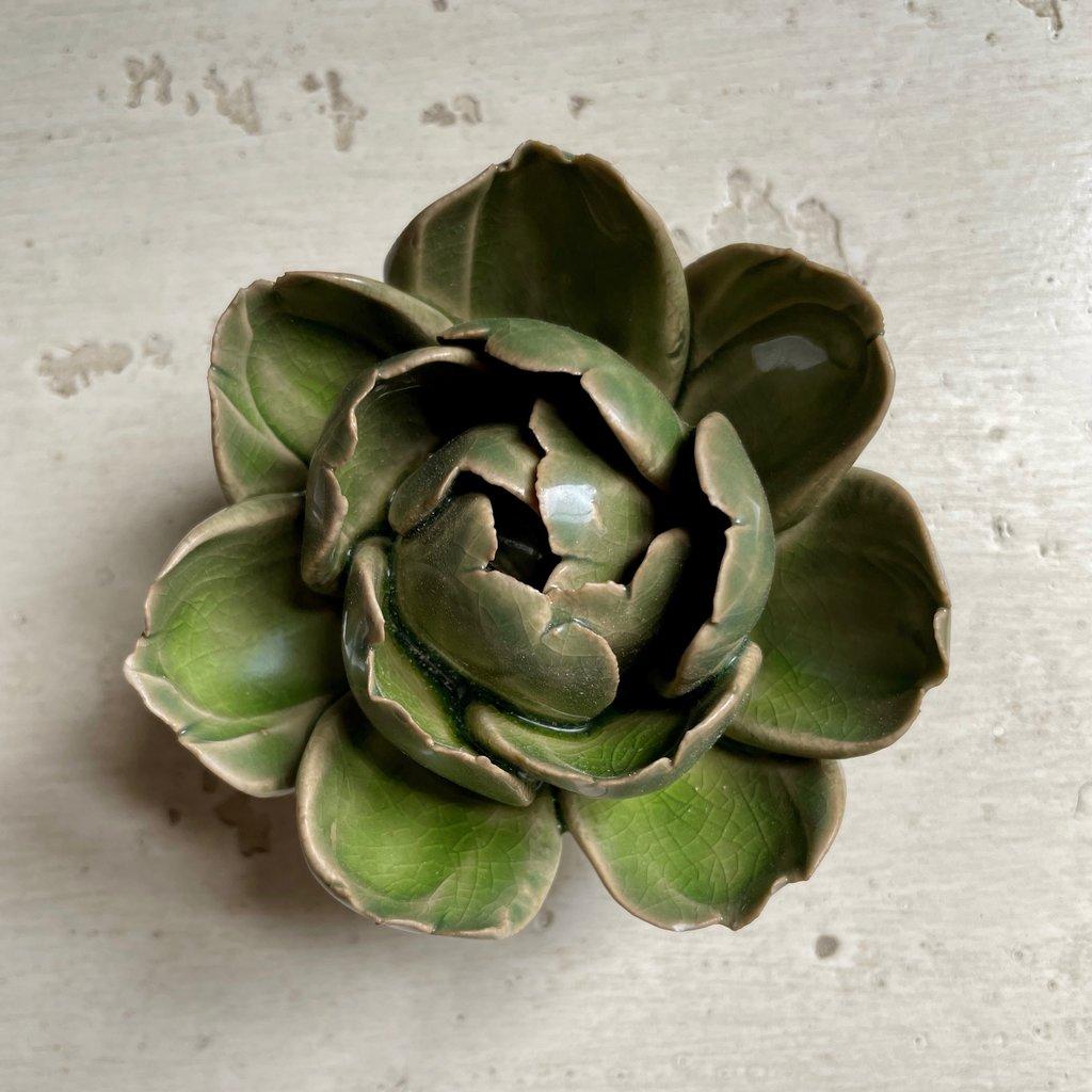 Peony Green Ceramic Flower