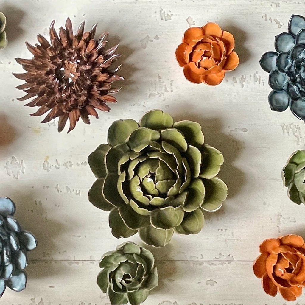 Blue Gray Succulent Ceramic Flower