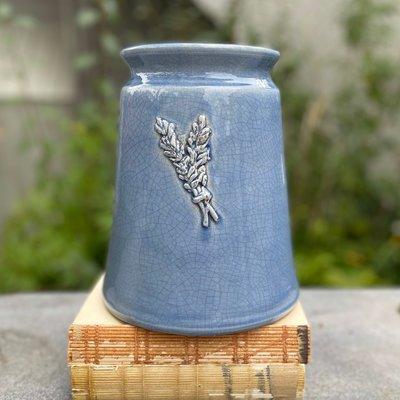 Mason Jar w/ Sprig - Blue