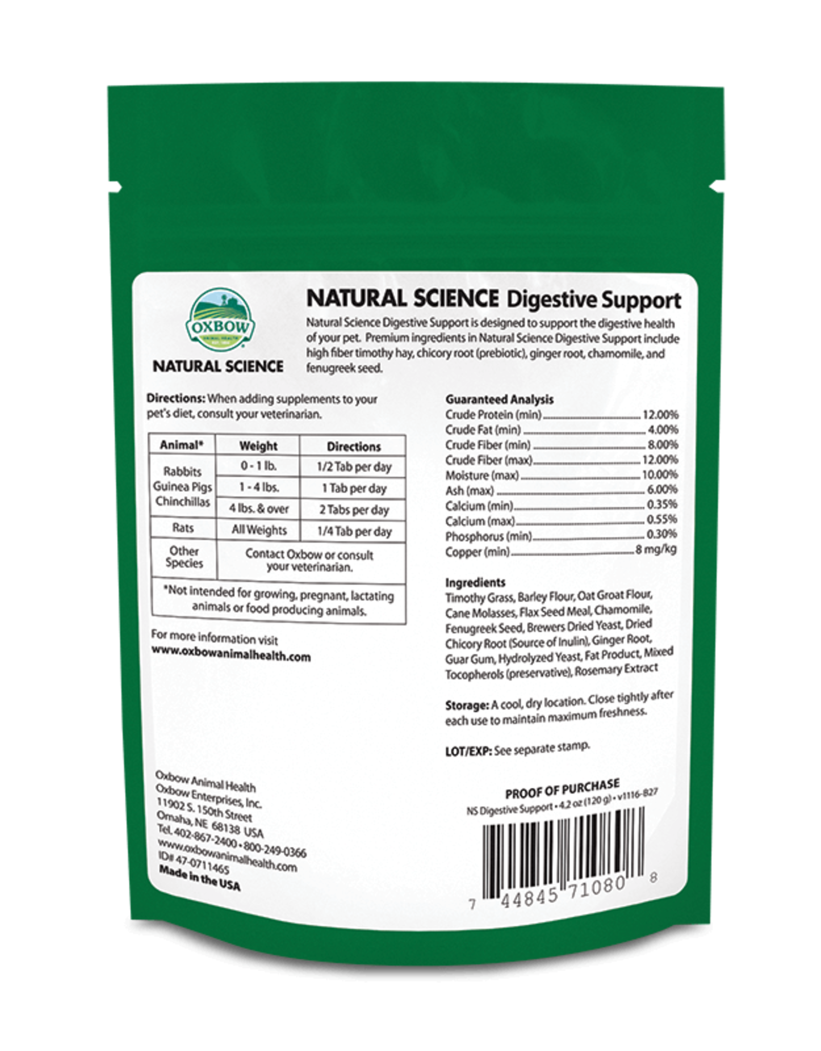 Oxbow OXBOW \ Natural Science \ Digestive Supp 60ct