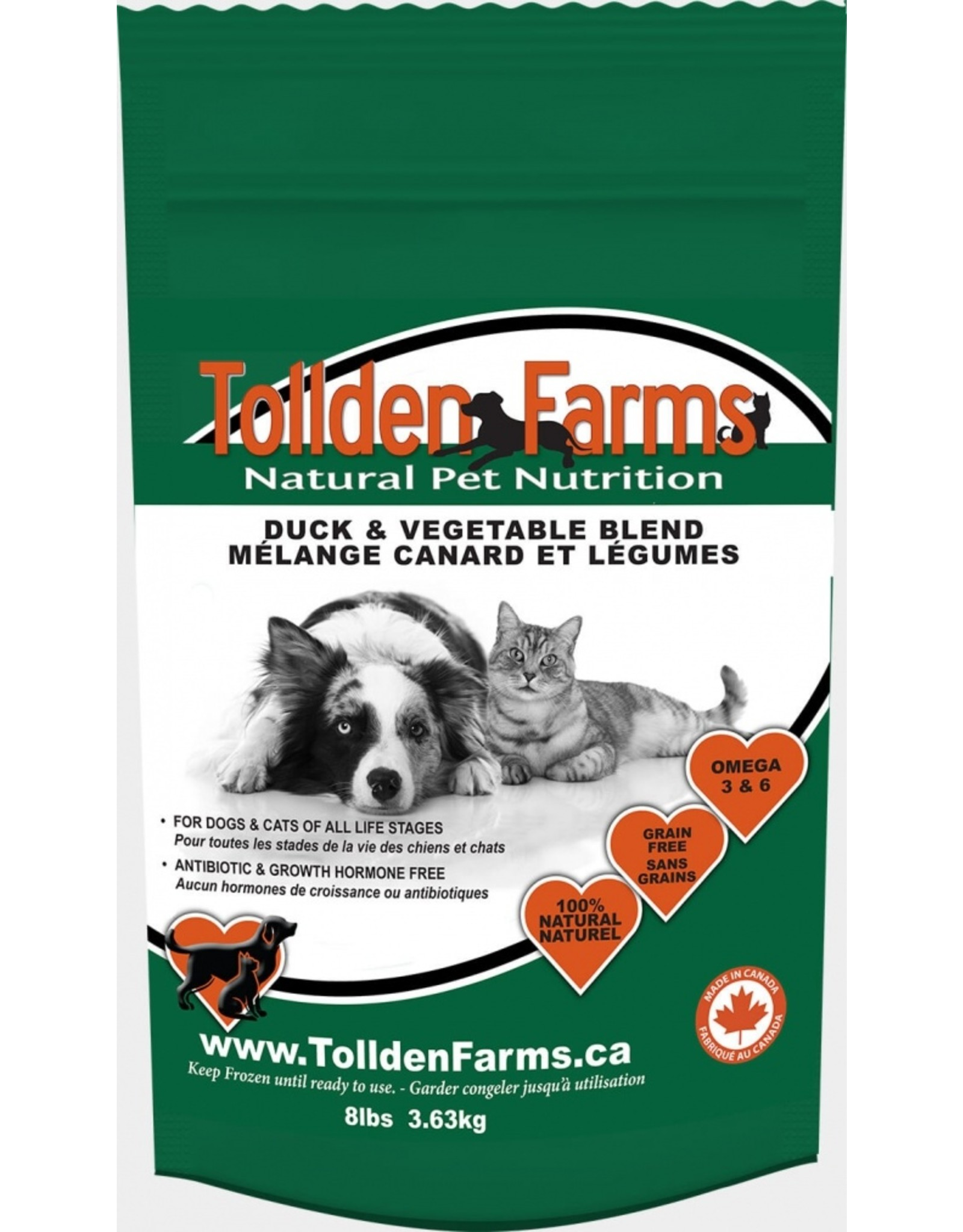 Tollden Tollden Farms Duck and Vegetable Blend 8lb (12 8oz patties)