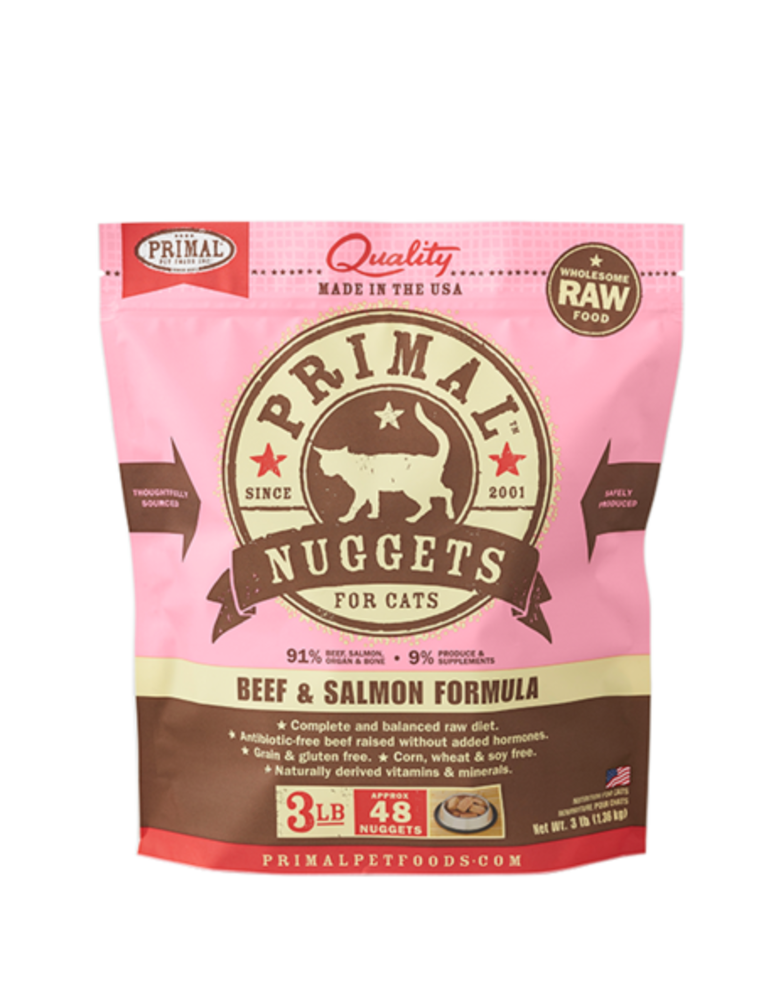 Primal Primal Frozen Feline Beef & Salmon Nuggets 3lb