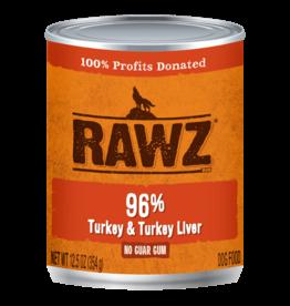 Rawz RAWZ \ DOG \ CAN \ 96% Turkey & Turkey Liver 12 x 12.5oz