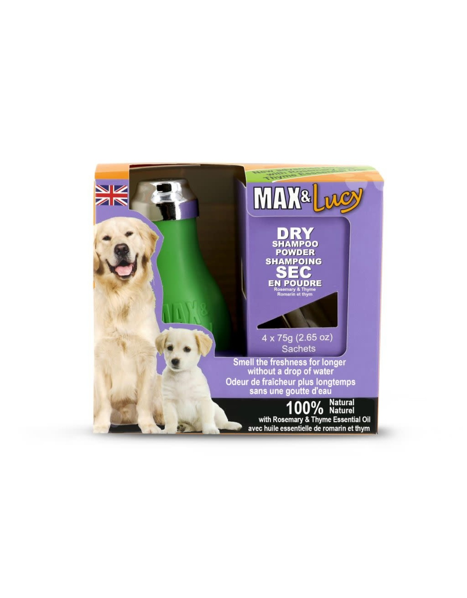 Max & Lucy Max & Lucy Dry Dog Shampoo Bulb Rosemary & Thyme 4 x 75G Sachets
