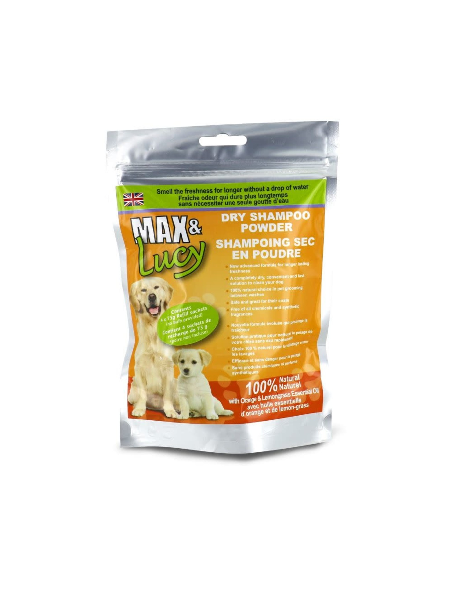 Max & Lucy Max & Lucy Dry Dog Shampoo Refill Orange & Lemongrass 4 x 75G Sachets