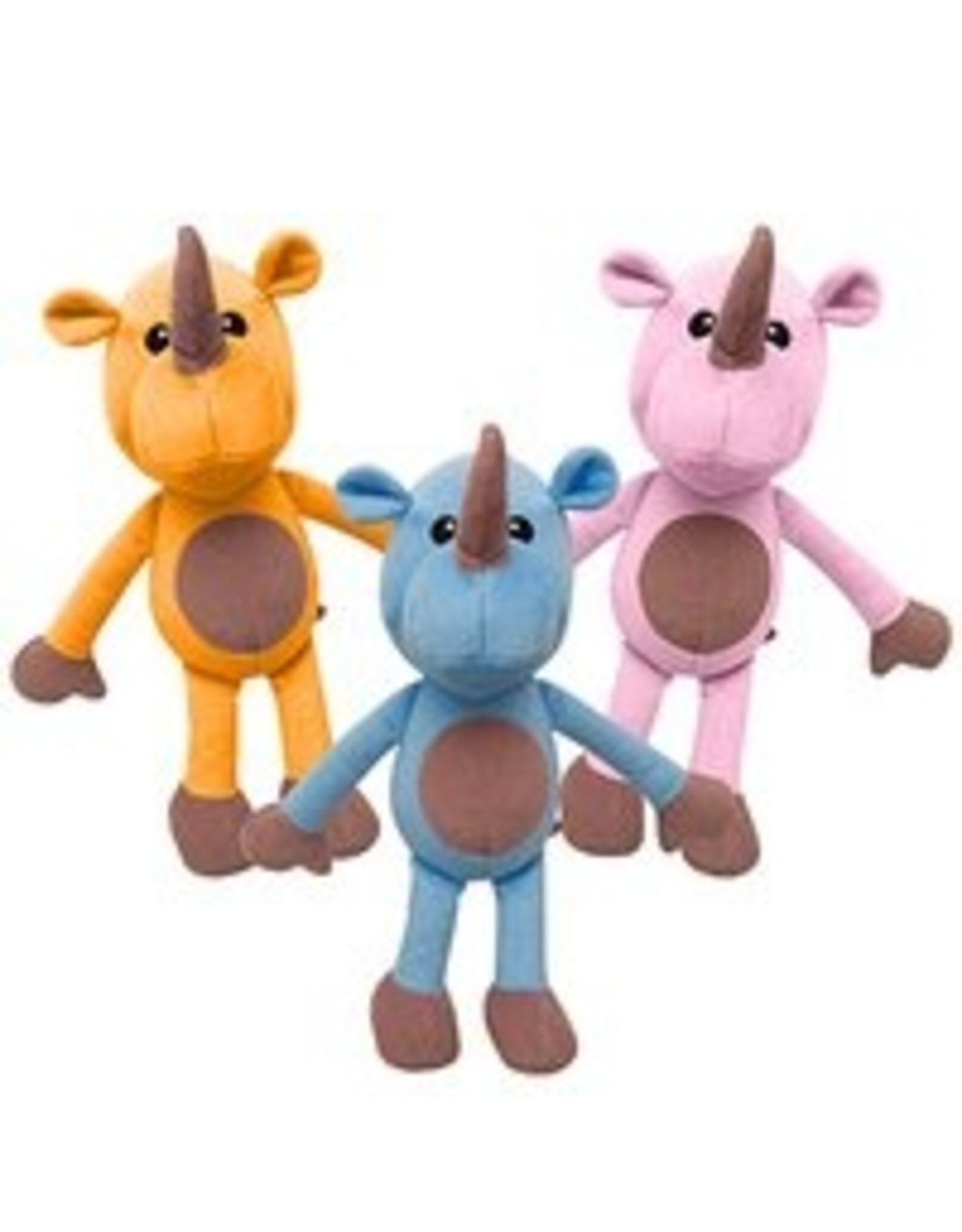 "SNUGGAROOZ SNUGAROOZ Robbie the Rhino Assorted Colors Plush Dog Toy 14"""