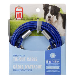 DO - Dogit Dogit Pet Tether Dog Tie-out Cable - Blue - Medium - 4.6 m (15 ft)