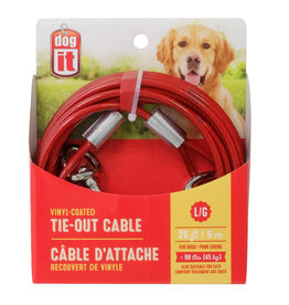 DO - Dogit Dogit Tie-Out Cable - Red - Large - 6 m (20 ft)