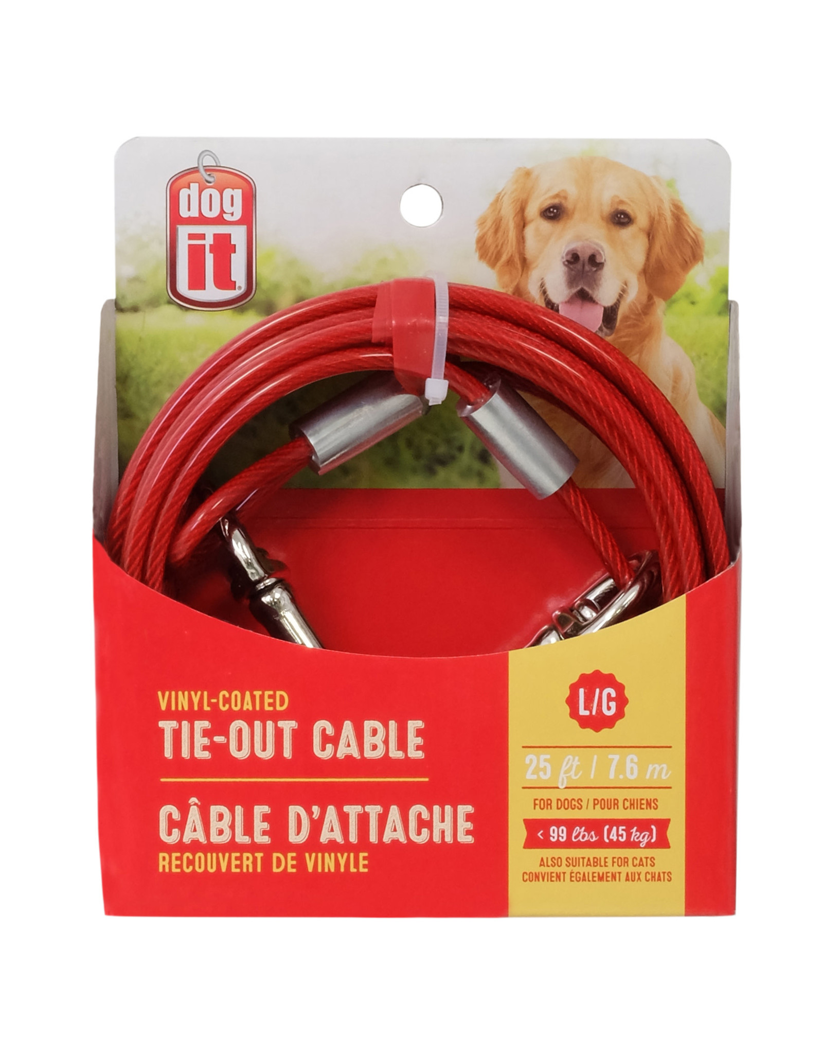 DO - Dogit Dogit Tie-Out Cable - Red - Large - 7.6 m (25 ft)