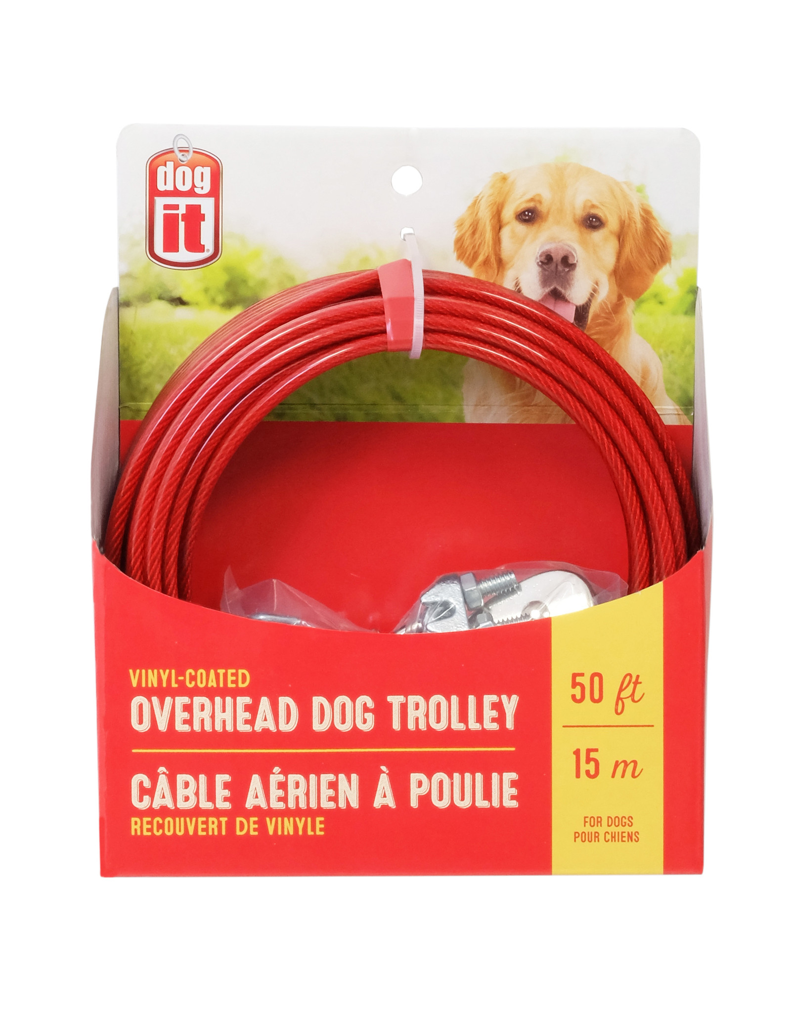 DO - Dogit Dogit Overhead Dog Trolley - Red - 15 m (50 ft) cable