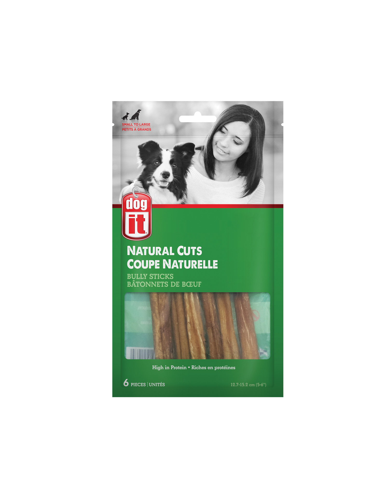 DO - Dogit Dogit Natural Cuts Bully Sticks - Straight - 12.7-15.2 cm (5-6in) - 6 pack