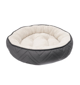 DO - Dogit Dogit DreamWell Dog Cuddle Bed - Round - Gray/White - 56 cm dia (22 in)