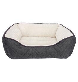 DO - Dogit Dogit DreamWell Dog Cuddle Bed - Rectangular - Gray/White - 60 x 51 x 23 cm (24 x 20 x 9 in)