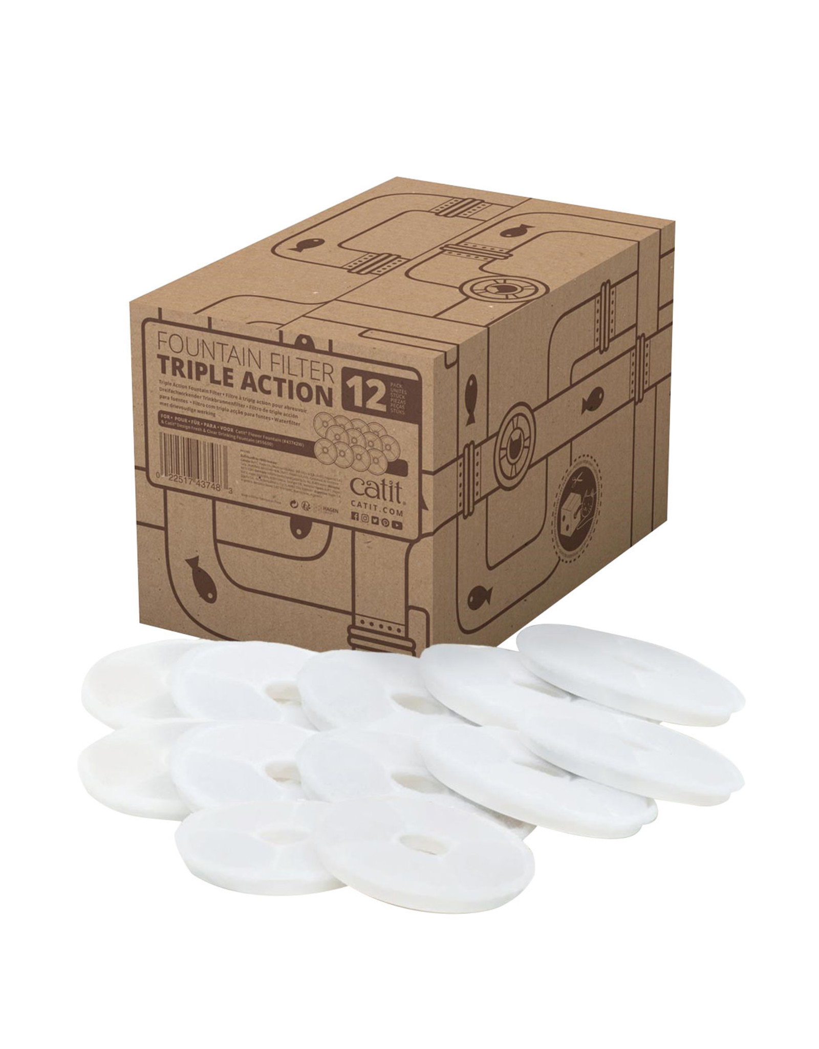 CT - Catit 2.0 Catit Triple Action Fountain Filter - 12 pack