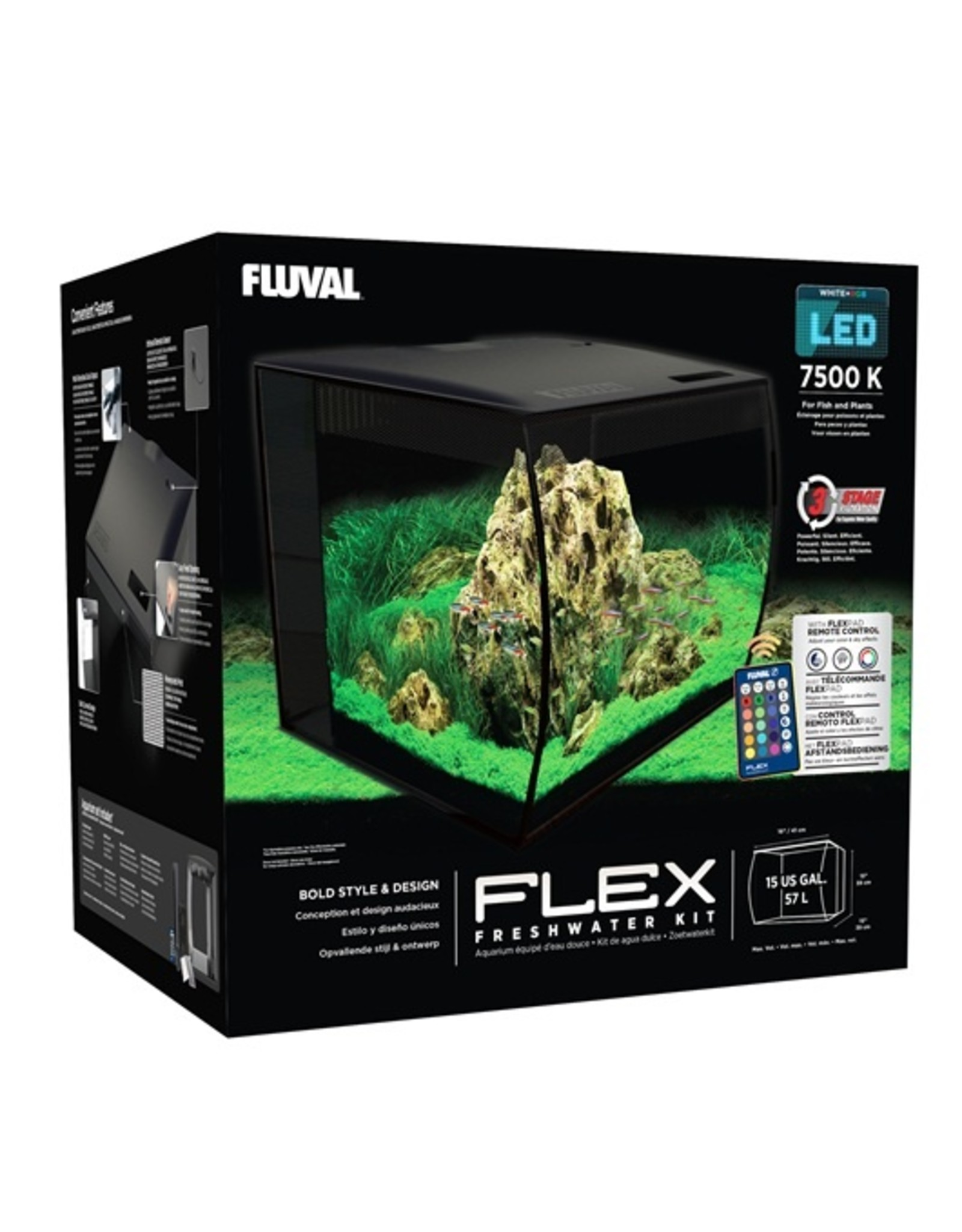 FL - Fluval Fluval Flex Aquarium, Black, 57L (15gal) - PP