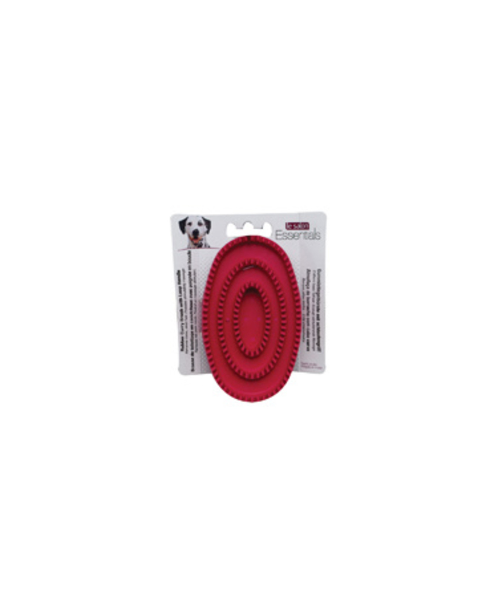 LS - Le Salon Le Salon Essentials Dog Rubber Curry Brush with Loop Handle, Red