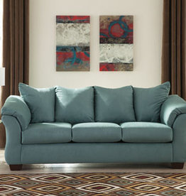 Darcy Sofa (Sky) Displayed in Showroom in Black