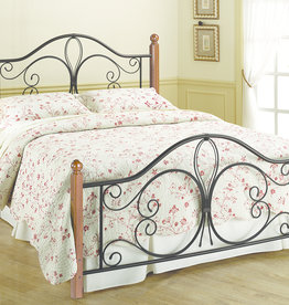 Milwaukee Bed - Metal with Wood Posts (Includes headboard, footboard, and rails)