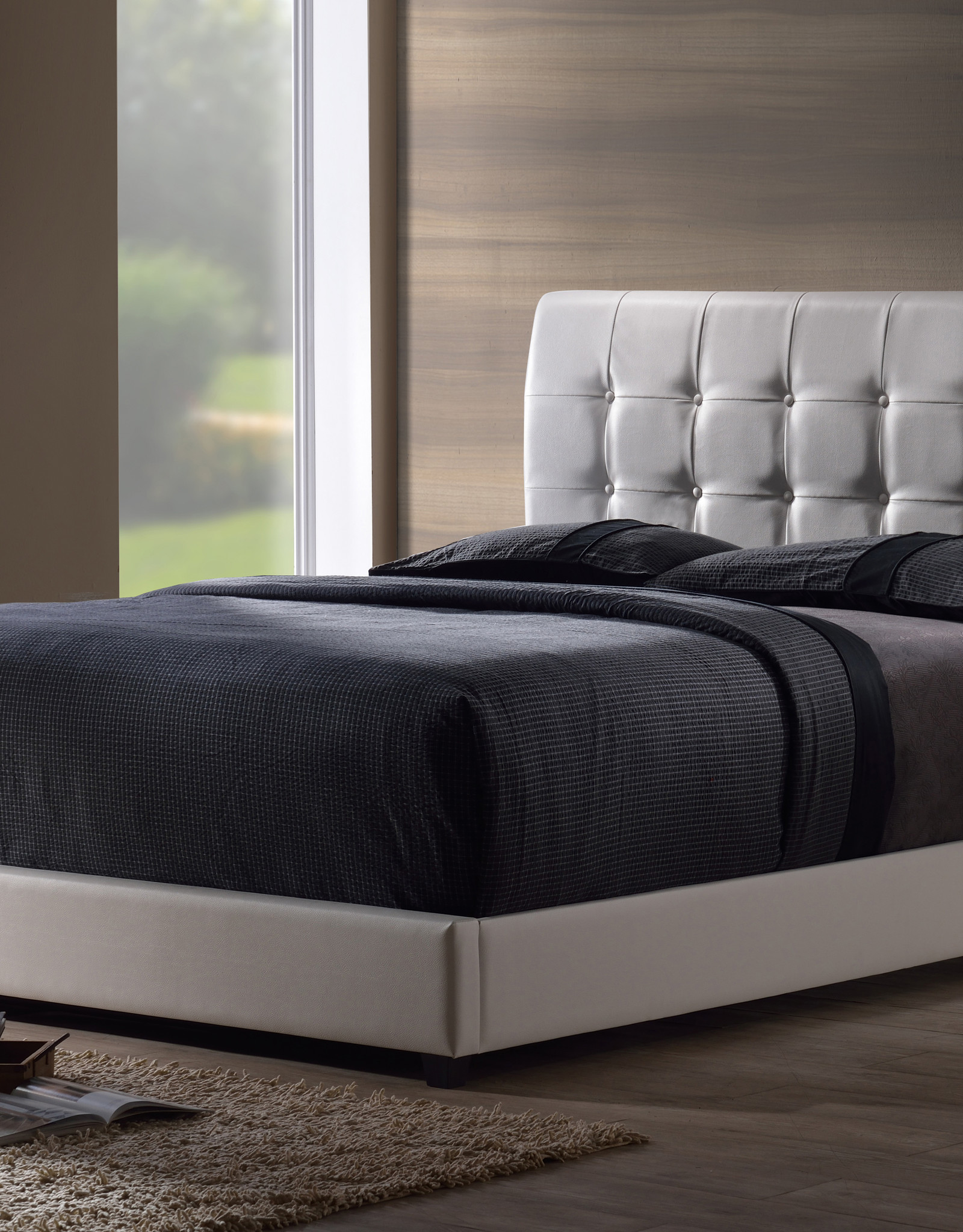 Lusso Bed (WHITE) (Includes headboard, footboard, and rails)